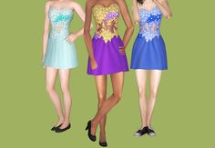 "Two dresses from the ""Homecoming"" set from TS3! Both dresses are for teens-elders, with three shoe options + PSD for recolour. All meshes have appropriate morphs for their ages. Enjoy~ Bring on the..."