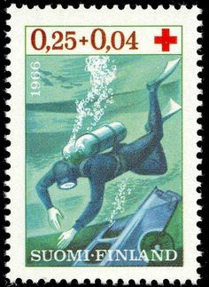 Postage stamp illustrating rescue diving in Finland, 1966