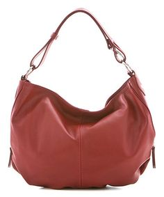 Red Slouchy Leather Hobo #zulily #zulilyfinds