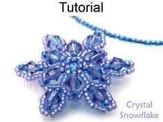 Snowflake Beading Pattern, Tutorial, Beadweaving Instructions, PDF Tutorials, Crystals, Seed Beads, Holiday Jewelry Making #615