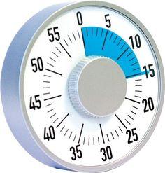 Tournez le gros bouton central pour déterminer la durée souhaitée. Celle-ci se matérialise alors par une surface bleue qui se réduit au fur et à mesure du temps qui passe. A la fin, le Timer sonne et la zone bleue a disparue ! Fonctionne mécaniquement sans pile. Bruit de tic-tac en continu. A poser sur une table grâce à un pied. Diam. 16 cm.