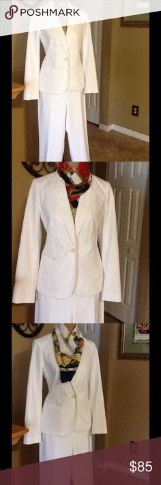 TALBOTS 2PIECE WHITE SUIT GORGEOUS ELEGANT TWO PIECE WHITE DESIGNER TALBOTS,,,EXCELLENT CONDITION WORN 1X FEW HOURS,,,,GREAT FOR ANY OCCASION OR EVENT,,,,VERY DRESSY SASSY LOOK....SMOKE FREE HOME...COMES WITH SCARVE OF MY CHOICE,,,, Talbots Other