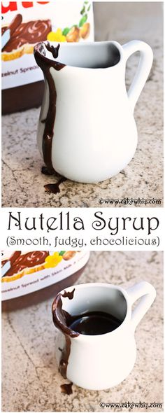 The most amazing, most choco-licous & most fudg-iest NUTELLA SYRUP ever! pancakes, waffles, cakes, brownies and so much more! Just Desserts, Delicious Desserts, Yummy Food, Nutella Recipes, Nutella Fudge, Yummy Treats, Sweet Treats, Dips, Breakfast Recipes