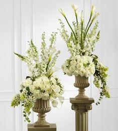 White Floral Church Arrangement: Altar arrangements in white