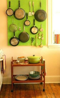Hang a pot rack or pegboard. Take storage into your own hands. Hanging a pot rack or pegboard is usually well within the scope of renters' rights, and they can open up much more storage in the kitchen.   Ten Kitchen Improvements for Renters