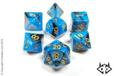 """Corrupted Mana"" dungeons and dragons dice set, blue and black"