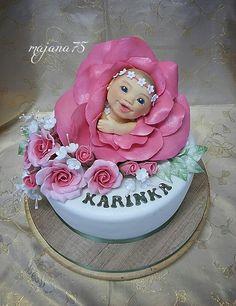 Cake baby in flower