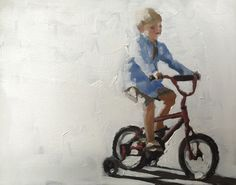 Bicycle Boy Art Print - 8 x 10 inches - from original painting by J Coates by JamesCoatesFineArt on Etsy