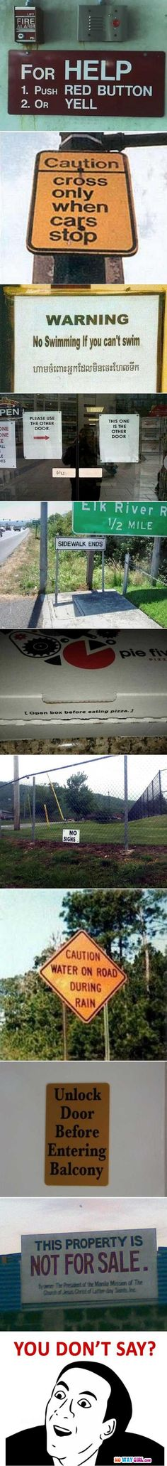 Funny Useless Signs