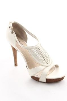 Guess by Marciano White Crosshatch Heels - $39