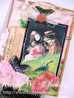 Romantic card card using Crafty Secrets New Frogs in Love 2 page digital download with postcards and tags. Caption reads 'Some fairytales really do come true'