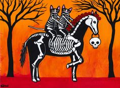 Love these skeleton cats on their skeleton horse!  Perhaps we can do something with this on our Day of the Dead celebration this year...  ~~ Houston Foodlovers Book Club