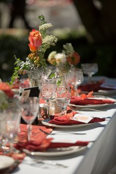 Fall-colored, Art Nouveau wedding romance - love the shades of rust, orange, green and red used on the table.