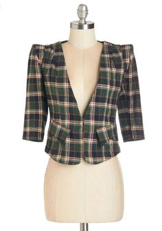 No Matter Putt Blazer. Reliably dapper on a cool day, this plaid blazer is a failsafe fashion choice. #green #modcloth