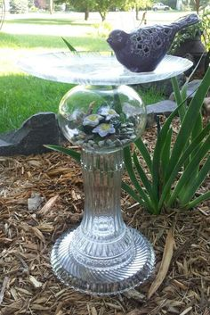 Glassware Garden Art Repurposed