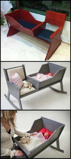 How To Build A Rocking Chair With Cradle http://theownerbuildernetwork.co/nh70 Rocking is soothing and relaxing for babies and adults alike. This project will let you rock with or without a little one. Diy Wood Projects, Woodworking Projects, Wood Crafts, Home Projects, How To Build, Baby Furniture, Wood Furniture, Furniture Projects, Furniture Design