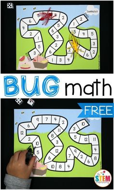 Free bug math games for kids! What a fun bug activity for preschool or kindergarten. Great activities for practicing number recognition and addition. #adultmathactivities