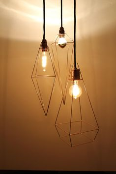 Industriedesign für Zuhaus: Geometrische Kupferlampe, Himmeli, Diamant / copper geometrical hanging lamp, diamond by vonBlau via DaWanda.com