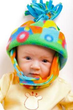 fleece baby in hat
