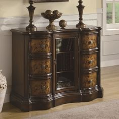 Curved Accent Cabinet By Coaster Furniture In Chests And Cabinets This Large Scale Features 6 Storage Drawers A Gl