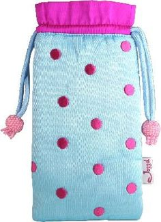 Jazzd Polka Dot Silk Eyeglass Pouch 6701 - Blue & Fuschia