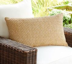 Outdoor Honeycomb Faux Fiber Lumbar Pillow #potterybarn, 16 x 26