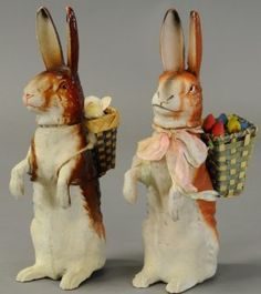 Two German Composition Easter Bunnies