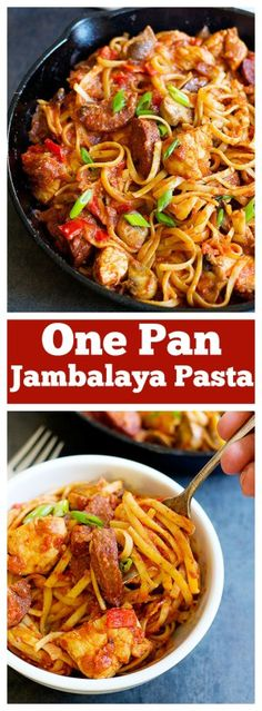 Have a warm bowl of One Pan Jambalaya Pasta any day of the year - this dish is full of flavors and takes less than an hour to come together. Perfect comfort food!
