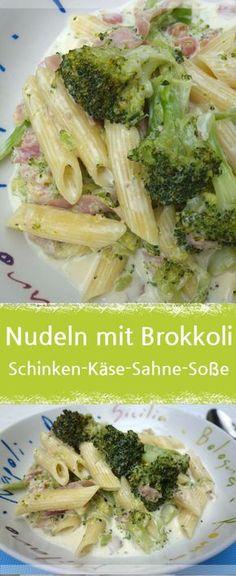 Nudeln mit Brokkoli in leckerer Schinken-Käse-Sahne-Sauce. Das schmeckt auch den Kids. Diesmal mit Schmelzkäse zubereitet.