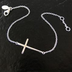 Sideways Cross Bracelet  Sterling Silver Small by classicdesigns, $31.00