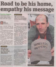 Article by Metro London newspaper about my walk all through and across Canada My Best Friend, Best Friends, Moving Forward, Sadness, Newspaper, Walks, I Am Awesome, Love You, Canada