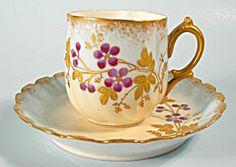Puffy Swirled Limoges Demi Cup and Saucer Purple Flower. Please click on the image for more information.