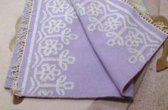 Pottery Barn Boho Border lavender silver flower purple wool Rug Reversible 8 NWT