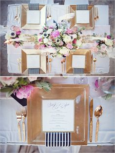 "gold & black wedding reception decor ""with a splash of pink"""