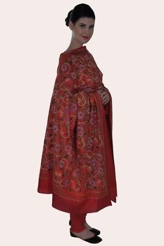 Sindhuri Red Multi-Colour Hand Embroidered Kantha Dupatta With Suit