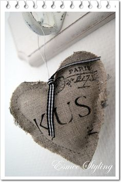Use rubber stamps on burlap Valentines Day Hearts, Be My Valentine, Lavender Crafts, Fabric Hearts, Shabby Chic Crafts, I Love Heart, Burlap Crafts, Fabric Yarn, Linens And Lace