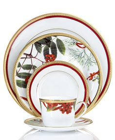 Charter Club Dinnerware, Holly Berry and Red Rim Mix and Match Collection - Holiday Dining - Dining & Entertaining - Macy's