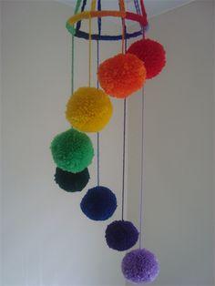 Yarn Pom-Pom Mobile for the Nursery in Rainbow Swirl (small)