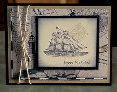 Masculine Birthday Card or Fathers Day Card, using Stampin Up The Open Sea