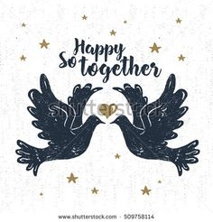 "Hand drawn party label with textured doves vector illustration and ""So happy together!"" lettering."