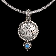 Sterling Silver Lotus Necklace- Rainbow Moonstone
