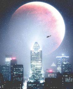 Supermoon over Montreal Credi