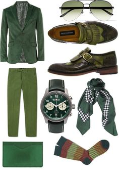 Green Mens Fashion Collage by paulparkman on PolyvorePaul Parkman Men's Wingtip Monkstrap Brogues Green Hand-Painted… / Etro Cor...