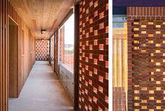 Perforated brick screen/timber cladding