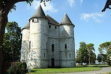 The Château des Tourelles is a ruined castle in the commune of Vernon in the Eure département of France.  The castle originated in 1196, when Philippe Auguste (Philip II of France), fighting against the king of England, Richard the Lionheart, for possession of Normandy, seized Vernon and made the town a military base.  The castle consists of four turrets twenty metres high.  It is one of the few castles in France which has been practically unchanged for 800 years.