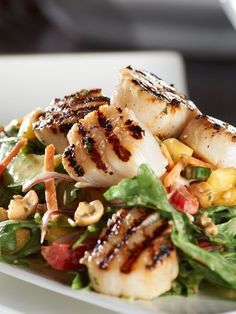 Zesty Grilled Scallops with a Mango & Arugula Salad