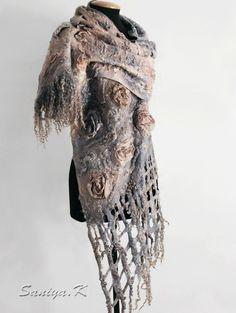 Boho Beige Gray Blue Fashion wool nuno felted by FeltSilkArtGift
