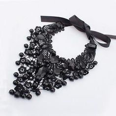 Black Lace Crochet Collar Necklace