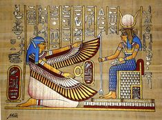 Egyptian papyrus painting: Egyptian goddesses Isis and Ma'at brought to life, all hand painted From Cairo with Love. Egyptian Symbols, Ancient Egyptian Art, Ancient Aliens, Ancient Greece, Maat Goddess, Isis Goddess, Anglo Saxon History, European History, Ancient History