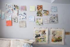 Kristen Sharpe abstract #painting wall at Spark Box Studio #artistresidency